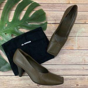 Jil Sander green leather square toe slip on heels